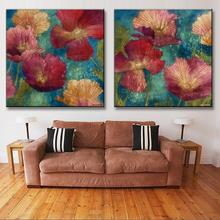 Home Decor Classical 2 Pcs/set Flower Canvas Prints Painting with Framed Retro Red Flower in Blue Canvas Wall Picture