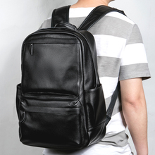 "New Large Travel Backpack Teenagers School Book Bag Cowhide Genuine Leather Male Leisure Bag Men 14"" Laptop Notebook Backpack(China)"