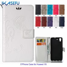 "IKASEFU New Embossed Butterfly Stand PU Leather  Phone Case for HUAWEI Y6 5"" Wallet Flip Cover Magnet Closure Card Holder Sock"