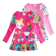 Hot sale girls dresses nova baby kids clothes ben and holly long sleeve flower vestidos children party casual dress(China)