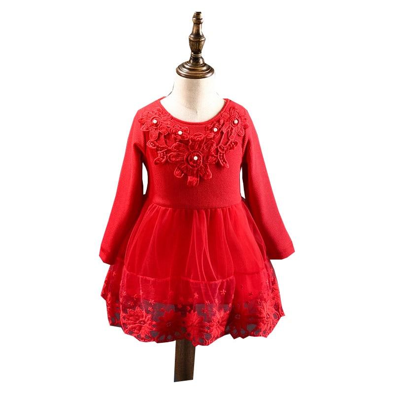 DFXD Children Girls Autumn Winter Kids Dress Long Sleeve Soild Lace Mesh Thick Toddler Princess Costume Baby Dresses 2-7Years<br><br>Aliexpress
