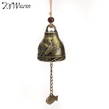 KiWarm Retro Feng Shui Bell Blessing Metal Wind Chime for Good Luck Fortune Crafts Gifts Home Car Hanging Decoration Ornaments