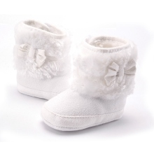 2017 Knitting Hand-made Bowknot Fleece Snow Boots For Baby Girl Boy Anti-silp Prewalker Booties Baby Shoes 0-18 Months(China)