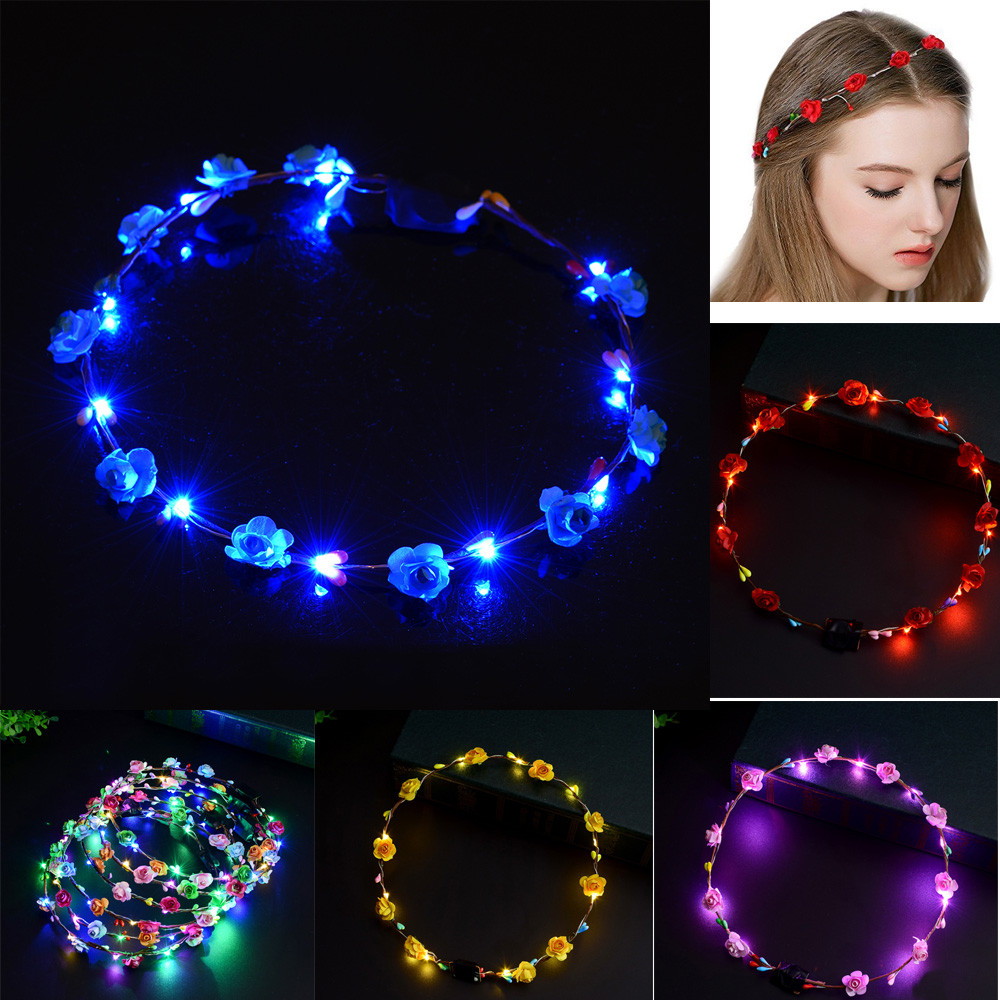 New Fashion New Novelty Led Flashing Flower Headband Hair Ornament Hairband Glowing Light Floral Wreath Children Girls Toys Christmas Party Girl's Accessories