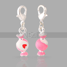 Wholesale Fashion Charm Silver Plated Zinc Alloy Bottle Charms for Bracelets(China)