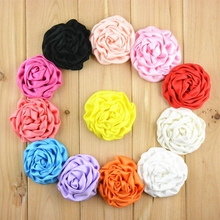 "20pcs/lot 3"" Chic Large Satin Rolled Rosettes Flowers Kids Girls DIY Hair Accessories Fabric Flower Craft Wholesale Supplies DIY(China)"