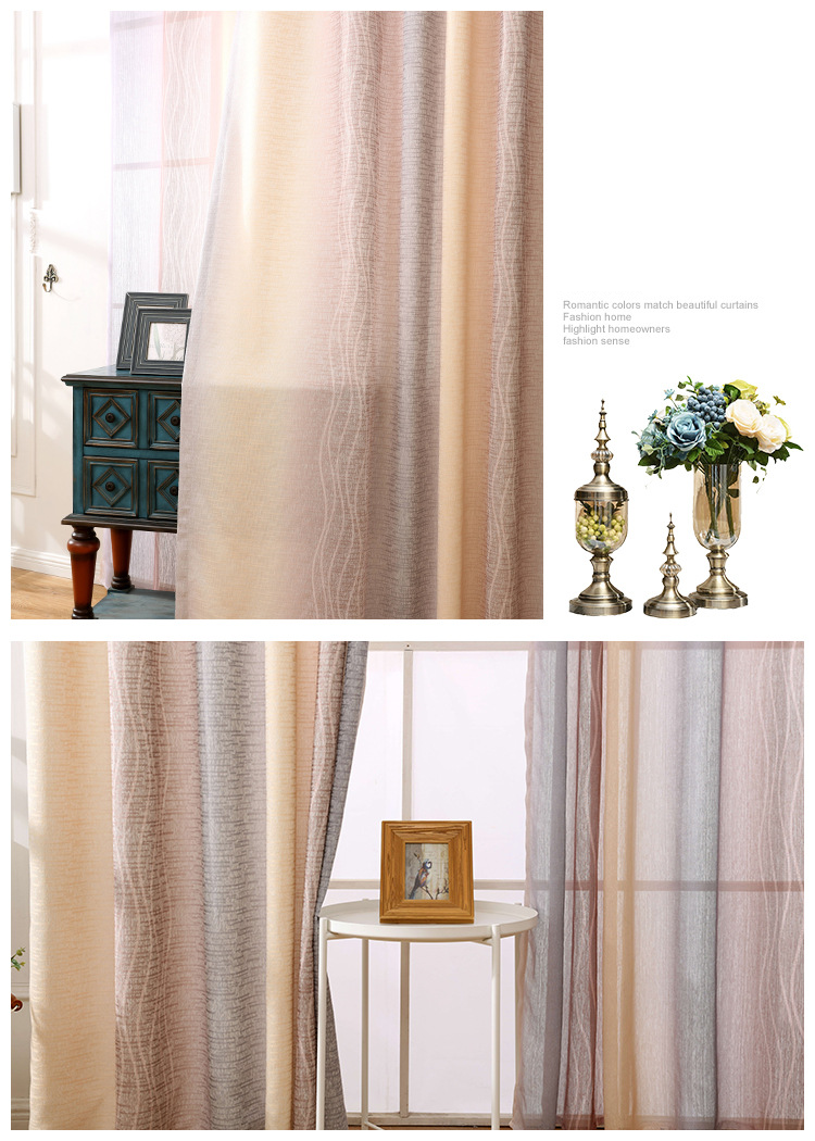 White Silk Cotton Hemp Color Gradient Shading Printing Water Waves Curtains for Living Room Bedroom Shading 7