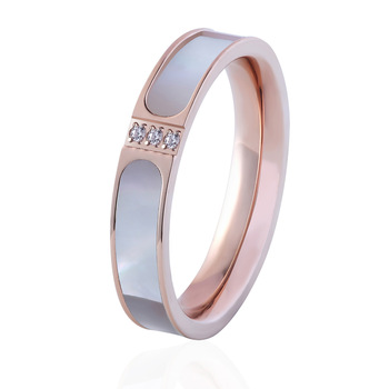 Hot Famous Brand Women Rings Silver And Rose Gold Color Stainless Steel Ring Shells And Zircon Luxury Jewelry Female Top Quality