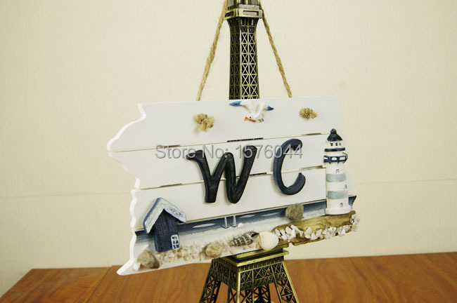New Toilet doorplate indication WC listing decorative wall hanging wood old creative ocean wind plaque 22x12x2cm W0018