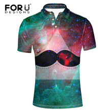 FORUDESIGNS Fashion Universe Superstar Men Polo Shirt Summer Short Sleeve Tommis Polos for Man 3D Moustache Print Ralphmen Shirt