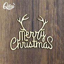 QITAI New Deer DIY Products Wooden Photo Frame Products Wooden Flourish Nature Wood Color Scrapbooking Merry Christmas WF118(China)