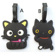 Cartoon Puss in Boots Suitcase Luggage Tag Cute Black Cat ID Address Holder Baggage Label Silica Gel Identify Travel Accessories