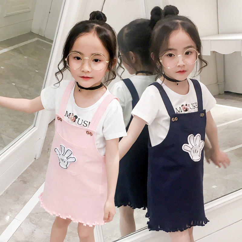 Spring Clothes New Girl Child Cowboy Salopettes Children Cartoon T Suit 2 Pieces Kids Clothing Sets<br>