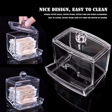 New Creative Makeup Organizer Clear Acrylic Cosmetic Cotton Swab Q-tip Storage Holder Box Transparent Case(China)
