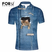 FORUDESIGNS Novelty 3D Denim  Cat Men Polo Shirt Mens Summer Casual Polo Ralpmen Homme Elastic Stretch Male Polos Shirts Tommis