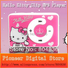 New Arrival 50pcs/lot Hello Kitty clip mp3 music player support TF card with mini usb&earphone 5 colors Hot sale Free shipping