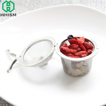 WHISM S/M/L Durable Stainless Steel Tea Strainer Tea Bag Sphere Locking Spice Mesh Infuser Silver Filter Infuser te chino(China)
