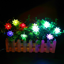 100CM 10leds lotus string holiday lamp small lantern powered by 2*AA battery night light pathway light graden christmas decor R