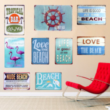 COMPAS Plaque Metal Vintage Signs Home Wall Art Posters Painting Decorative BEACH Plates For Bar Cafe Pub Garage 30x20cm N113