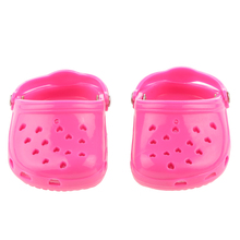 "NEW 18"" 7.3 cm Fashion Pink Rubber Beach Sandals Slippers for American Girl Doll Daily Life Necessities Acessory Best Toys Gift(China)"