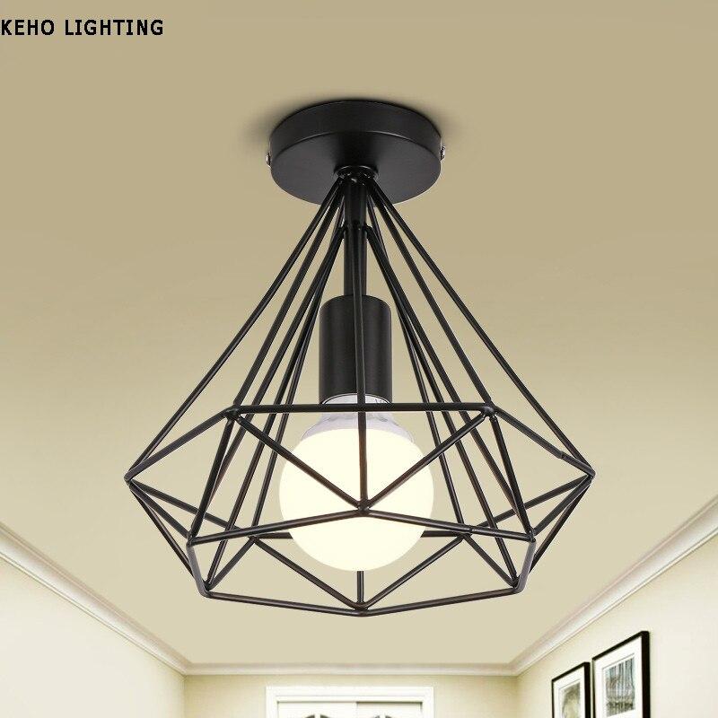 Simple Creative E27 ceiling lights  iron minimalist retro ceiling lamp Scandinavian loft pyramid lamp metal cage with led bulb<br><br>Aliexpress