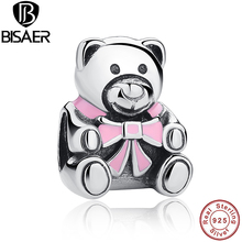 Present Authentic 925 Sterling Silver It's A Girl Teddy Bear Pink Enamel Charm fit original Pandora Bracelets Accessories HJS219