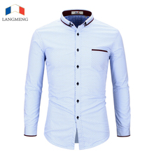 Langmeng New Winter Long Sleeve Polka Dot Men Shirt Male Fashion Casual Shirt Mens Thick Warm Dress Shirts Brand Clothing(China)