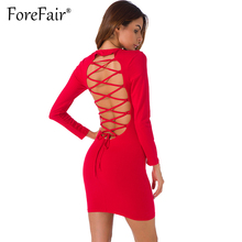 Buy Forefair Sexy Backless Cross Lace Dress Women Night Clubwear Party Dresses 2017 Autumn Long Sleeve Slim Bodycon Dress for $10.63 in AliExpress store