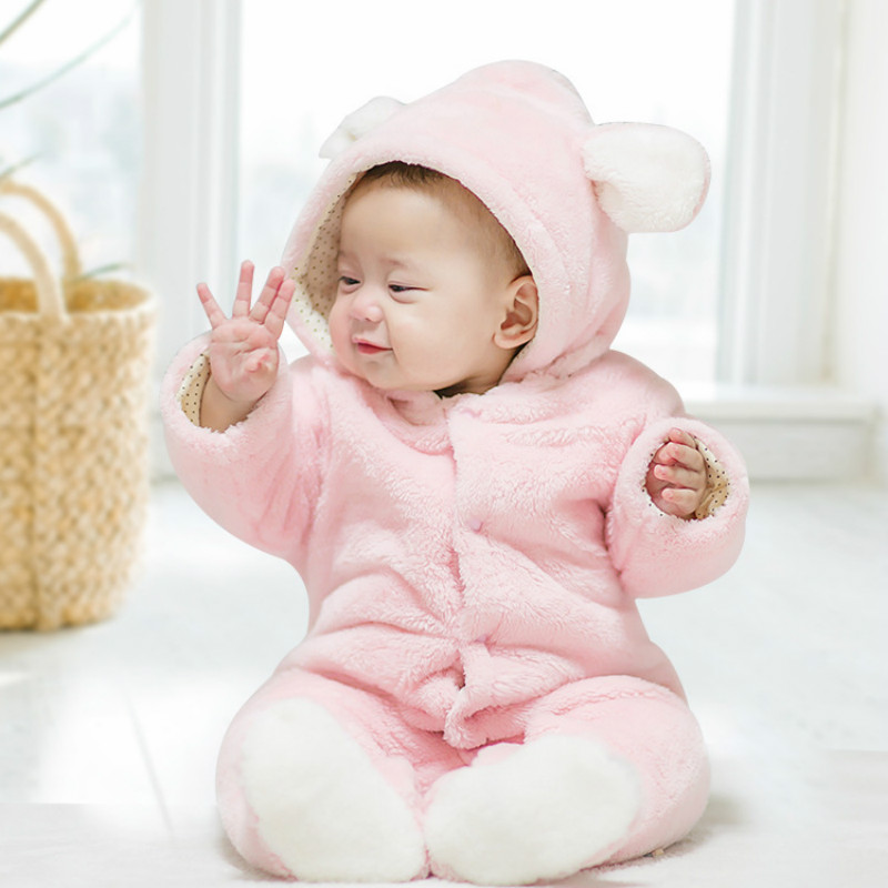 Super Cute Childrens Wear Cartoon Bear Plush Siamese Sweater Baby Crawling Clothes Home Pajamas Winter Warm Rompers Hooded<br>
