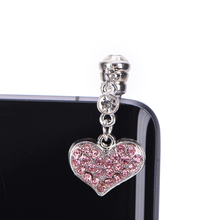 Universal 3.5mm Crystal Heart Dangle Anti Dust Earphone Jack Plug for IPhone