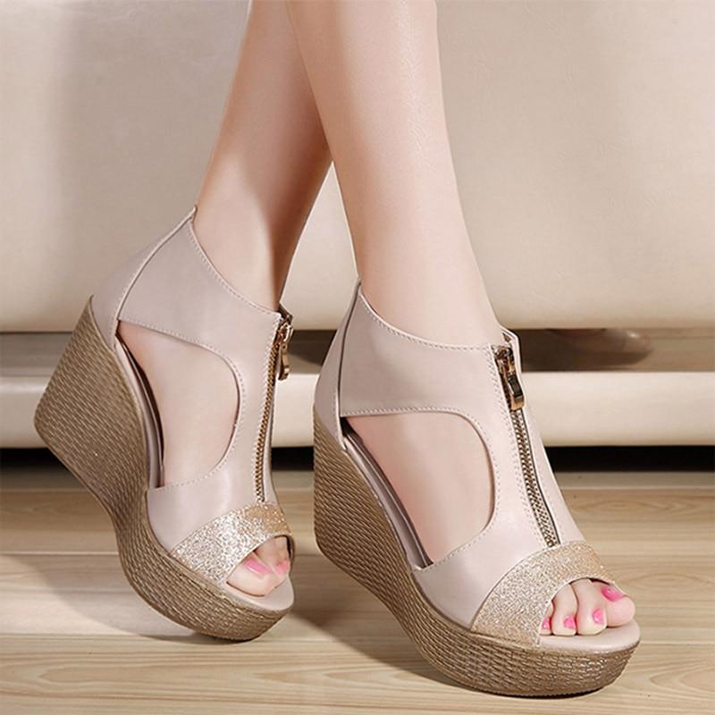 Sandals Women Platform Shoes Woman Wedges Peep Toe High Heels Quality Sexy Wedge Fish Mouth Zip Temperament Nightclub Cutout<br><br>Aliexpress