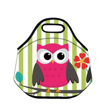 B557 Cartoon Owl Portable Bag Thermal Insulated Cooler Neoprene Lunch Bag Waterproof Picnic Bag Cute Travel Bag Lovely Kids Gift(China)