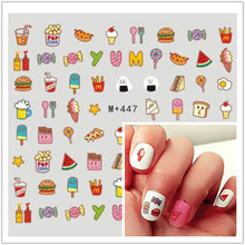 1card so lovely food nail art stickers Water Transfer Nail Decals DIY nail decoration makeup your finger(China)