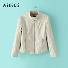 Buy stand collar white leather jacket women coat fashion womens clothing long sleeve regular coats zipper jackets ladies outwears for $27.99 in AliExpress store