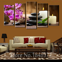 5 Panels Purple Phalaenopsis Flowers Candle Spa Stone Canvas Print Painting Artwork Wall Art Canvas painting For Home Decor