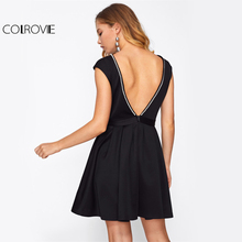COLROVIE Peal Beading Open Back Party Dress 2017 Women Black Sexy Slim Fit & Flare Mini Dresses Cute Ladies Draped Elegant Dress(China)