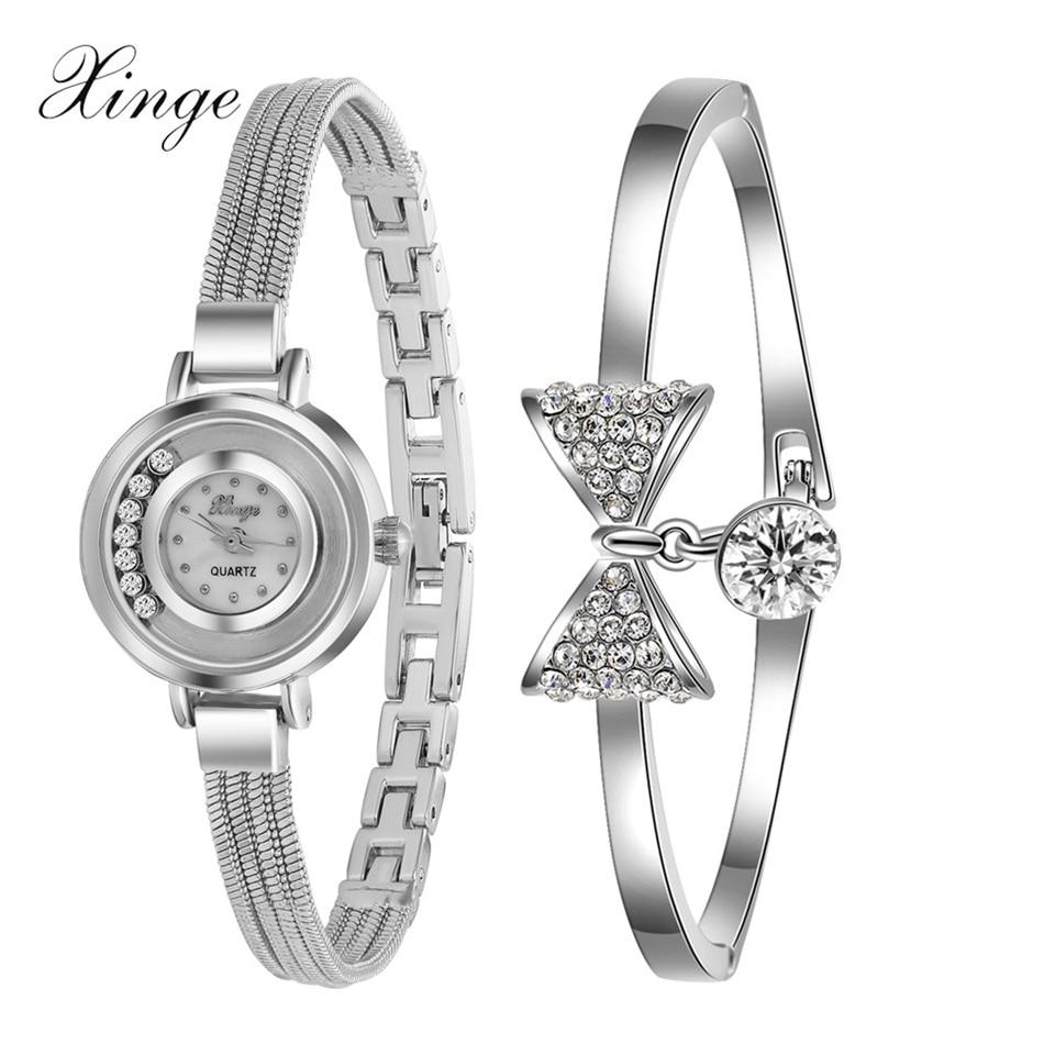 Xinge Famous Brand Quartz Watch Women Waterproof Silver Bracelet Wristwatch Set Women Quartz Watch Female Clock Watches<br><br>Aliexpress