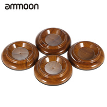 High Quality 4pcs/set Double Round Acrylic Upright Piano Caster Cups w/ Rose Wood Pattern & EVA Anti-slip Mat