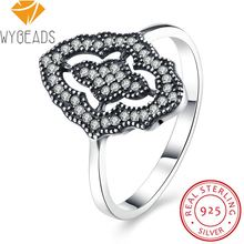 WYBEADS 925 Sterling Silver Sparkling Lace Stunning Rings Clear CZ Delicate Finger Ring For Women Female Wedding Fashion Jewelry