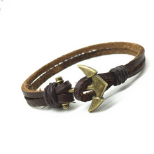 Handmade Punk Vintage Fashion Anchor Charm Genuine Leather Bracelets for Women Men Jewelry Accessories