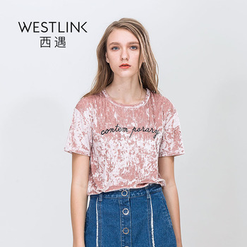 Westlink 2017 Printemps Nouveau Lettres Broderie Col Rond Manches Courtes Pull Velours Femmes T-shirts Rose