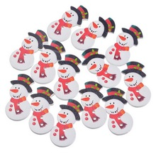 FUNIQUE 50Pcs/Lot Christmas Snowman Wood Buttons 2-Hole DIY Scrapbooking Crafts Decor Sewing Accessories Merry Christmas
