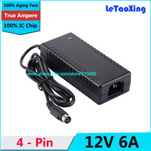 1pcs AC DC 12V 6A 4 Pin Power Adapter Supply 72W Switch 4-Pin For LCD TV Monitor Laptop Battery Charger With IC Chip