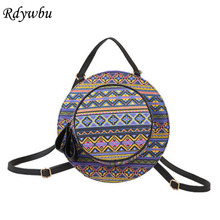 Rdywbu Women PU Cartoon Printing Spend Creative Personality Circular Striped Round White Point National Cute Wind Hat Bag H204(China)