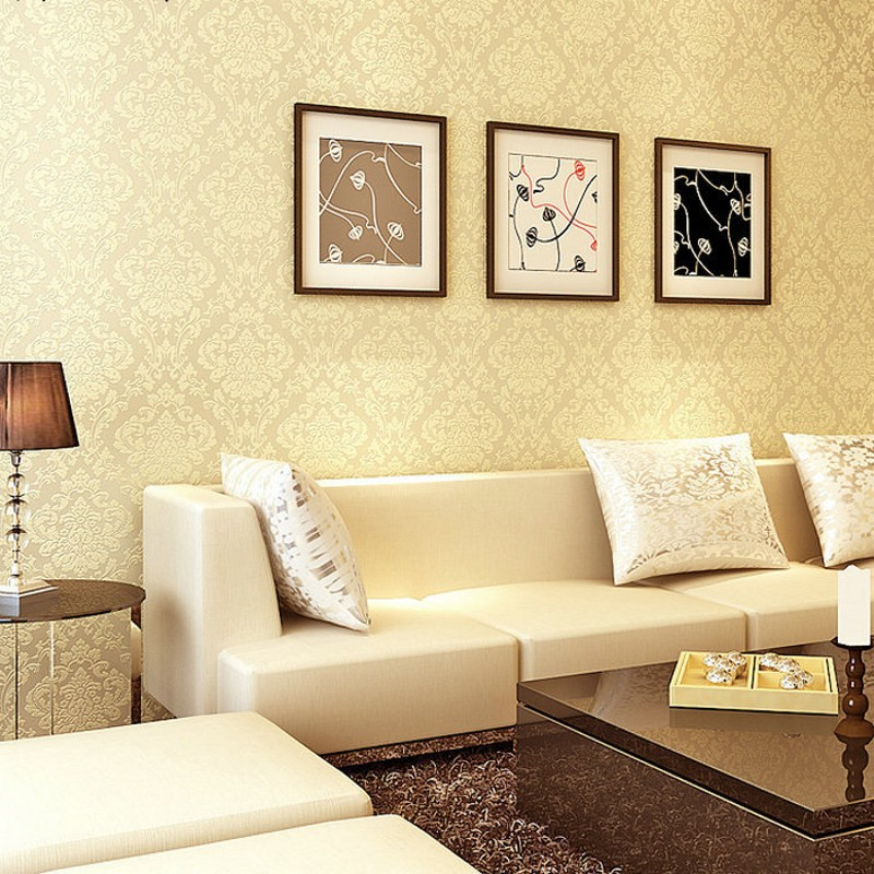 European high-grade non-woven wallpaper Damascus sprinkle gold wallpaper bedroom living room TV background wallpaper<br><br>Aliexpress