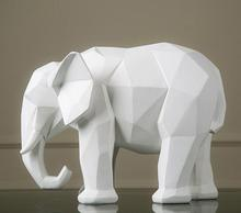 geometry origami black and white elephant figurine ornaments Resin abstract animal sculpture crafts creative home decors statue(China)