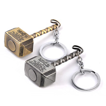 50 pieces/lot The Avengers Thor Hammer Keychain key chain Metal pendant keyring movie jewelry key holder for man