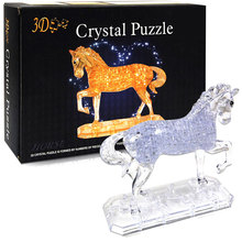 3D Crystal Puzzle three-dimensional Yellow or White Horse Unicorn Jigsaws100pcs DIY(China)
