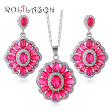 Splendid White Zircon Red Garnet Jewelry Sets For Women Stamped Silver Earring/Ring/Necklace JS653