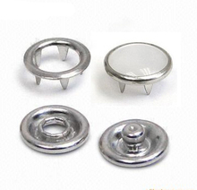 Wholesale 150sets/lot 8/10.5/12mm 4 part metal brass buttons white pearl prong snap button fastener silver nickle color FP-020